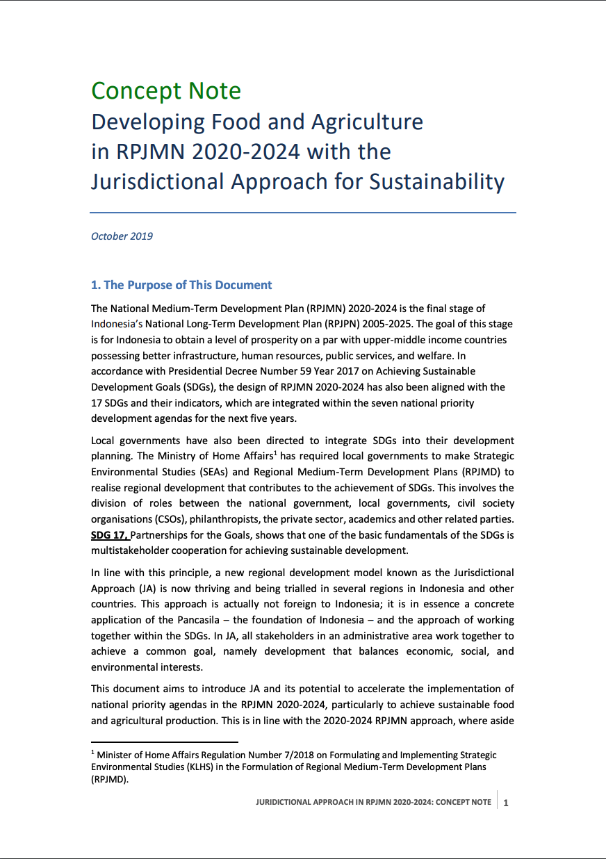 Concept Note: Developing Food and Agriculture in RPJMN 2020-2024 with the Jurisdictional Approach for Sustainability
