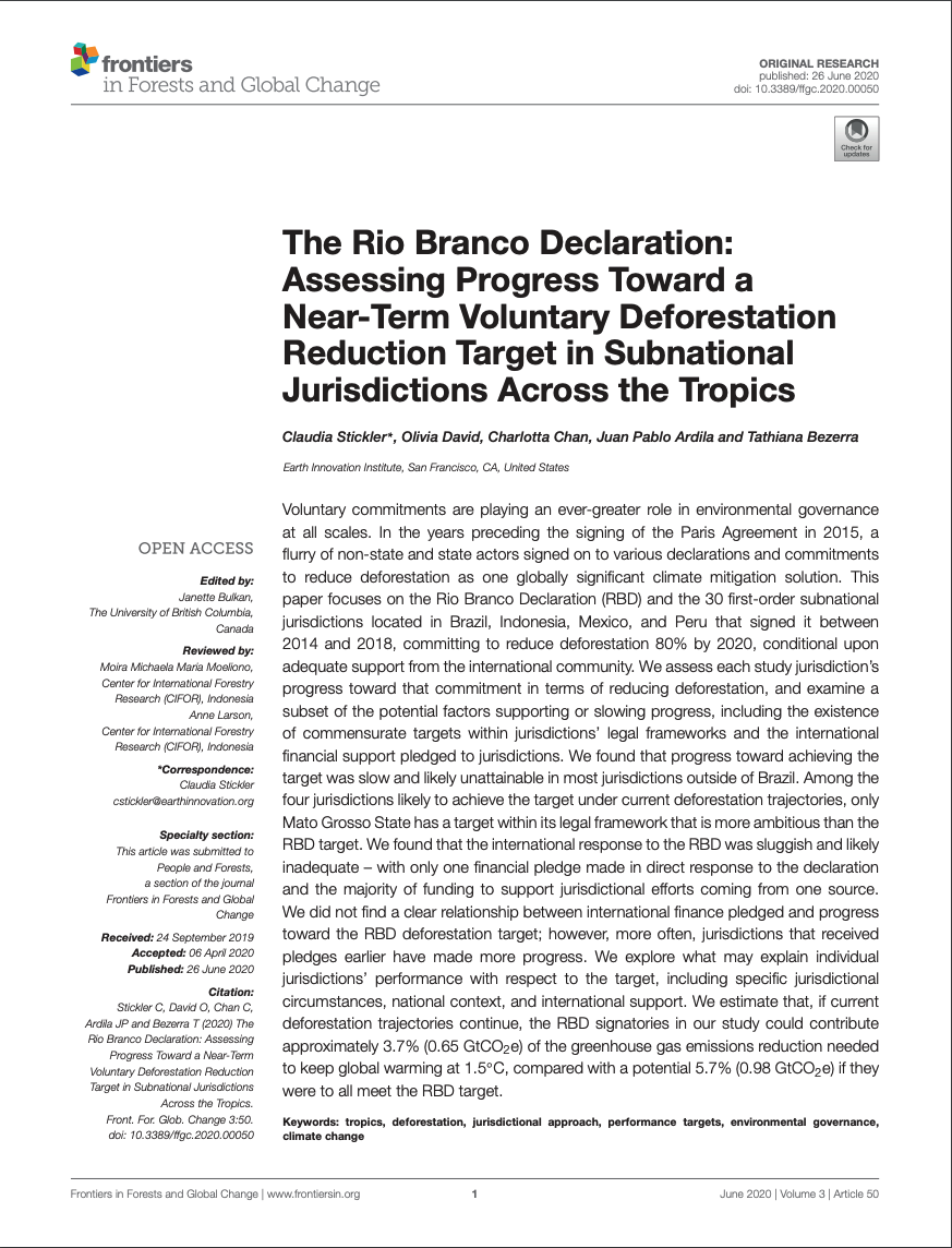 The Rio Branco Declaration: Assessing Progress Toward a Near-Term Voluntary Deforestation Reduction Target in Subnational Jurisdictions Across the Tropics