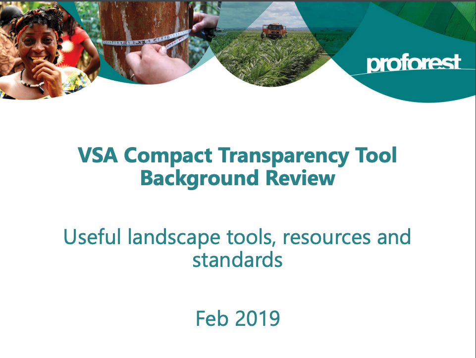 VSA Compact Transparency Tool Background Review: Useful Landscape Tools, Resources, and Standards