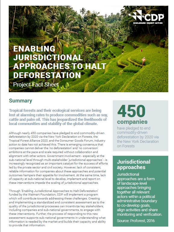 Enabling Jurisdictional Approaches to Halt Deforestation: Project Fact Sheet