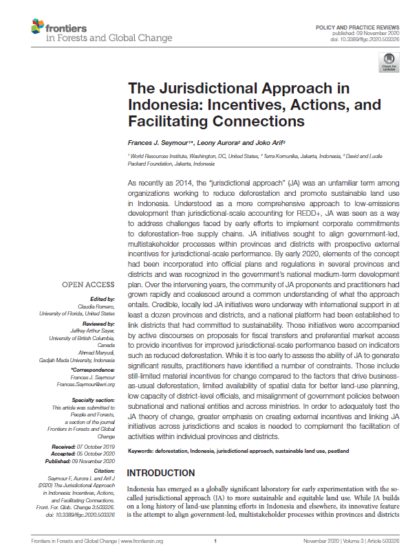 The Jurisdictional Approach in Indonesia: Incentives, Actions, and Facilitating Connections