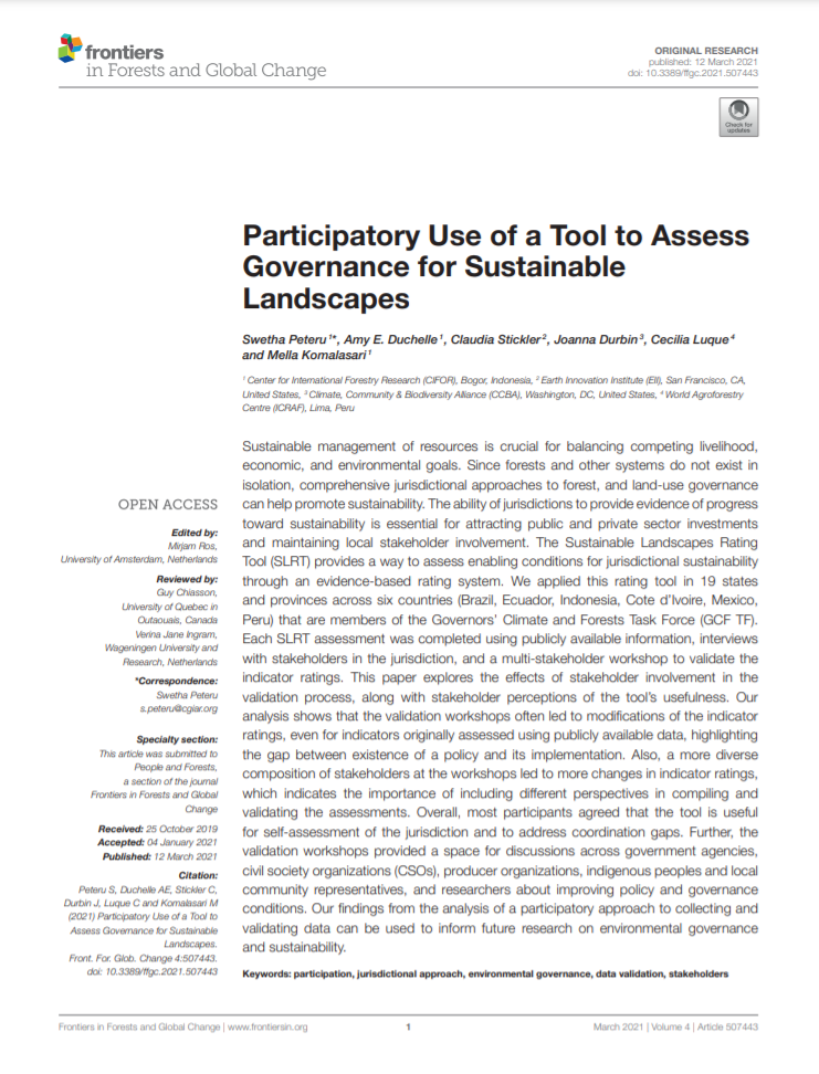 Participatory Use of a Tool to Assess Governance for Sustainable Landscapes