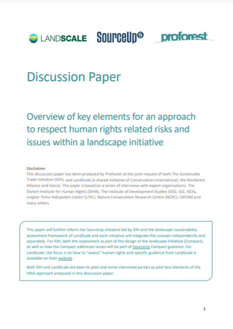 Overview of Key Elements for an Approach to Respect Human Rights Related Risks and Issues Within a Landscape Initiative