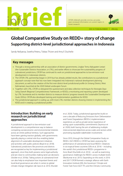 Global Comparative Study on REDD+ Story of Change: Supporting District-Level Jurisdictional Approaches in Indonesia
